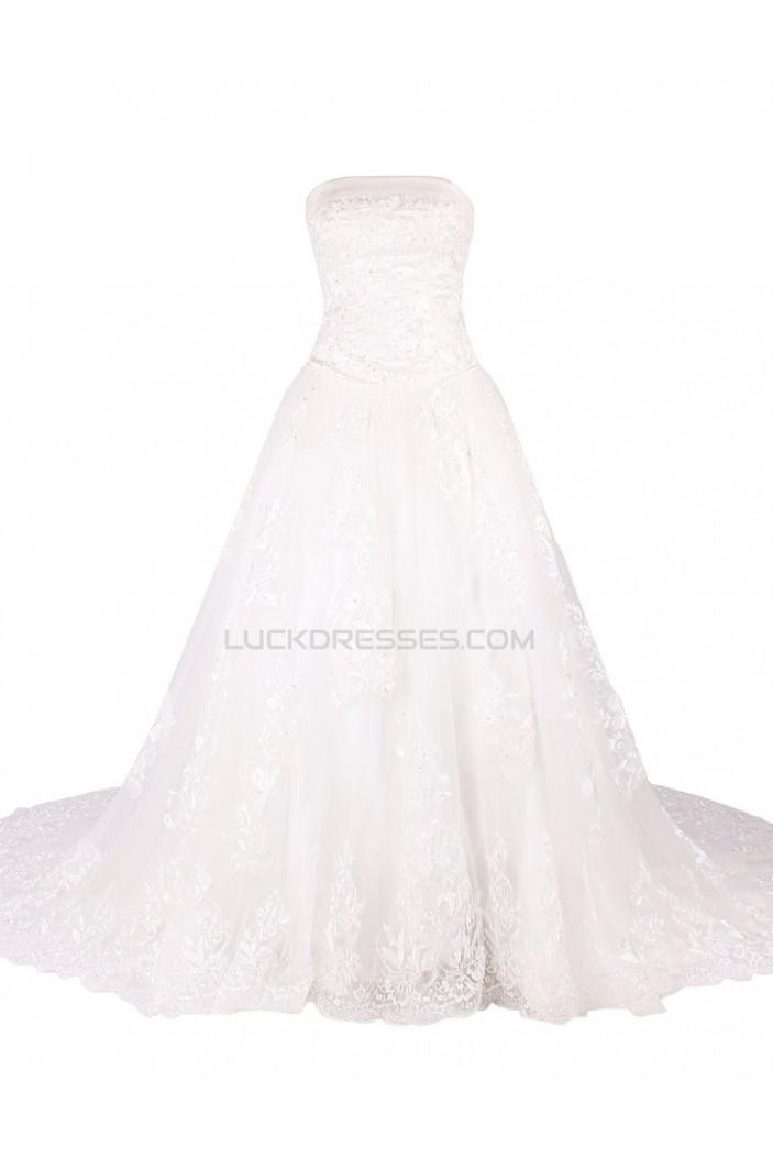 A-line Strapless Chapel Train Lace Wedding Dresses WD010032