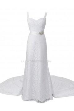 Sheath/Column Straps Chapel Train Lace Wedding Dresses WD010034
