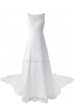 A-line Chapel Train Lace Bateau Wedding Dresses WD010035