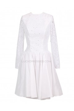 A-line Long Sleeves Lace Short Wedding Dresses WD010037