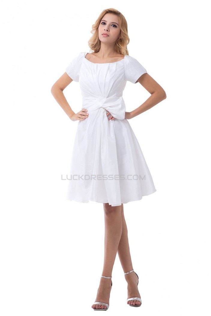 A-line Short Sleeves Short Wedding Dresses WD010038
