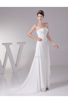Sheath/Column Strapless Sweep Train Wedding Dresses WD010039