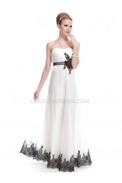 Sheath/Column Strapless Black Applique White Wedding Dresses WD010040