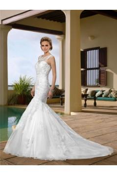 Trumpet/Mermaid Sweetheart Court Train Beaded Lace Wedding Dresses WD010042