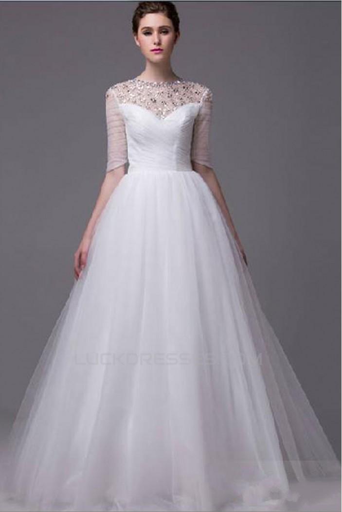 Ball Gown Floor Length Half Sleeves Beaded Wedding Dresses WD010044