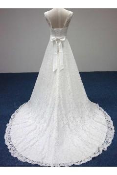 A-line Court Train Lace Wedding Dresses WD010045