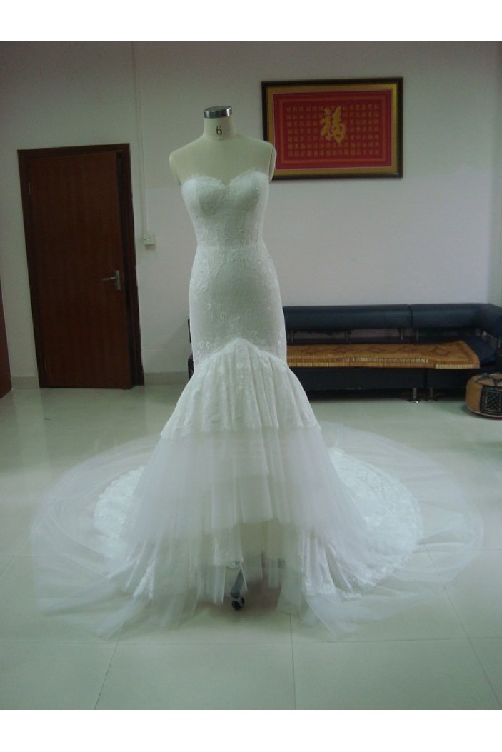 Trumpet/Mermaid Sweetheart Chapel Train Lace Bridal Wedding Dresses WD010051