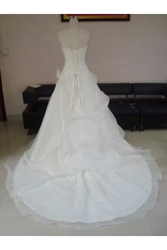 A-line Strapless Chapel Train Beaded Bridal Wedding Dresses WD010058