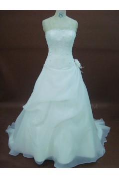 A-line Strapless Chapel Train Bridal Wedding Dresses WD010059