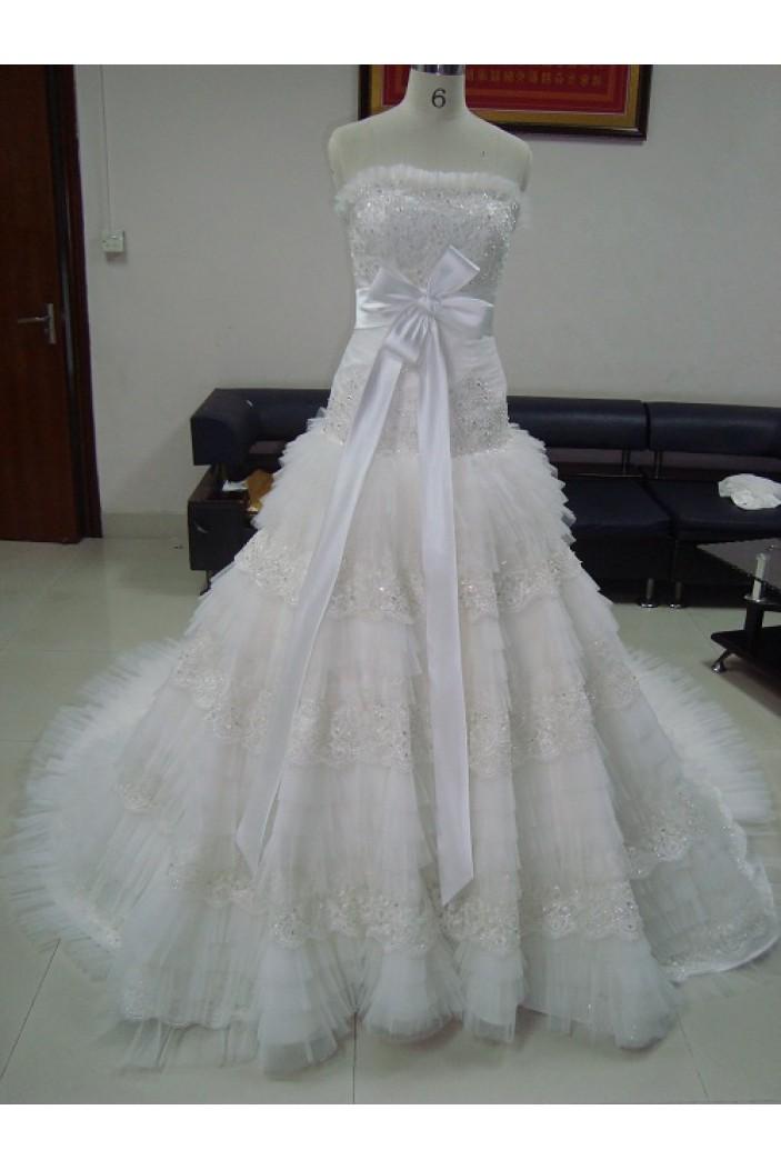 A-line Strapless Chapel Train Bridal Wedding Dresses WD010060