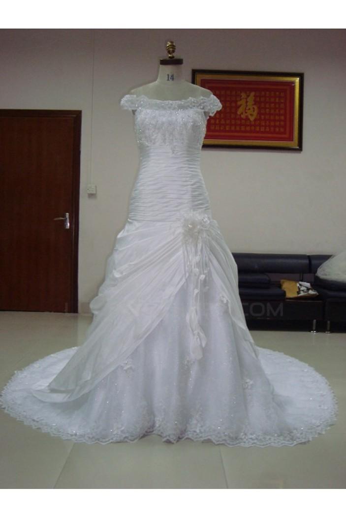 A-line Off the Shoulder Lace Chapel Train Bridal Wedding Dresses WD010061