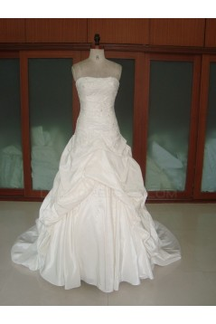Ball Gown Strapless Chapel Train Bridal Wedding Dresses WD010062