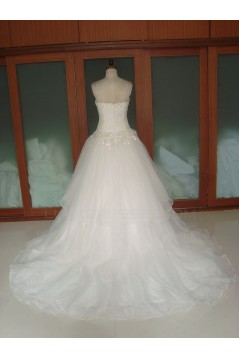 Ball Gown Strapless Chapel Train Bridal Wedding Dresses WD010063