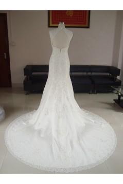 Trumpet/Mermaid V-neck Court Train Lace Bridal Wedding Dresses WD010065