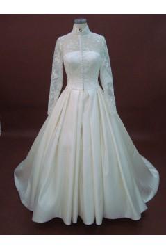 A-line Long Sleeves Chapel Train Lace Bridal Wedding Dresses WD010066