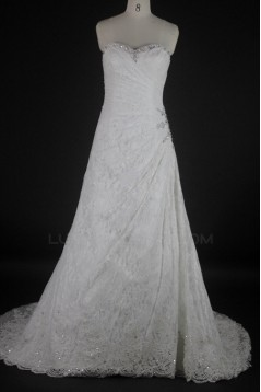 Sheath/Column Sweetheart Beaded Lace Bridal Wedding Dresses WD010069
