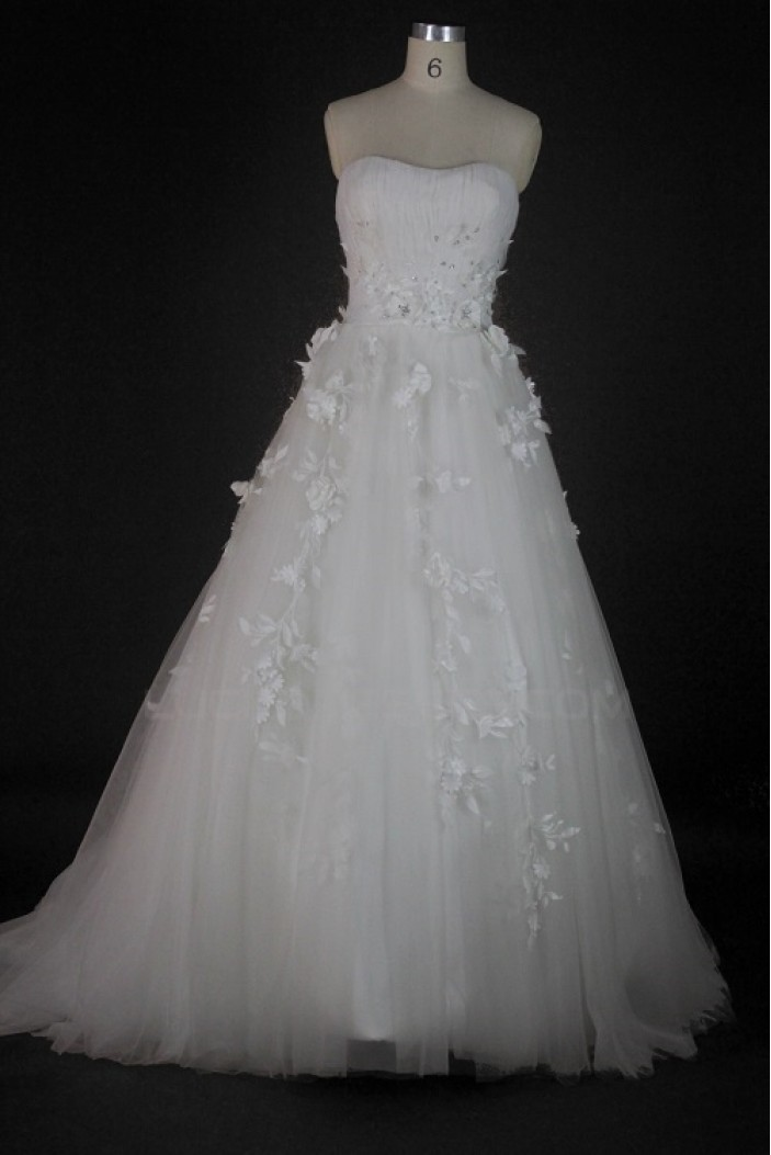 A-line Strapless Court Train Bridal Wedding Dresses WD010071