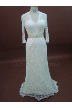 Trumpet/Mermaid 3/4 Sleeves Court Train Lace Bridal Wedding Dresses WD010073