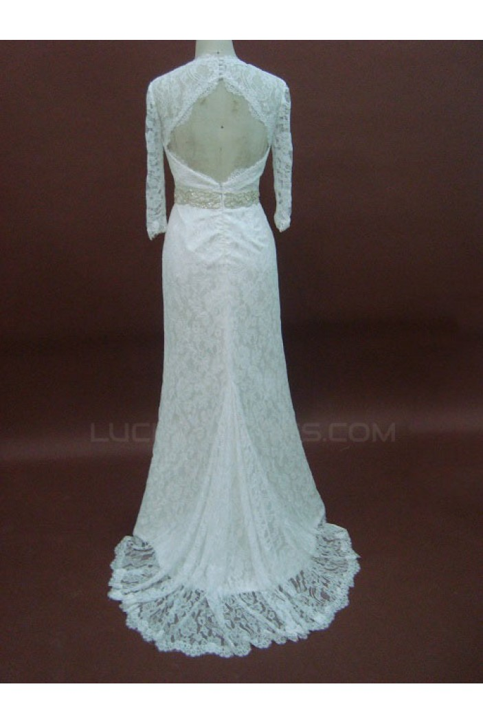 Trumpet/Mermaid 3/4 Sleeves Court Train Lace Bridal Wedding Dresses WD010073