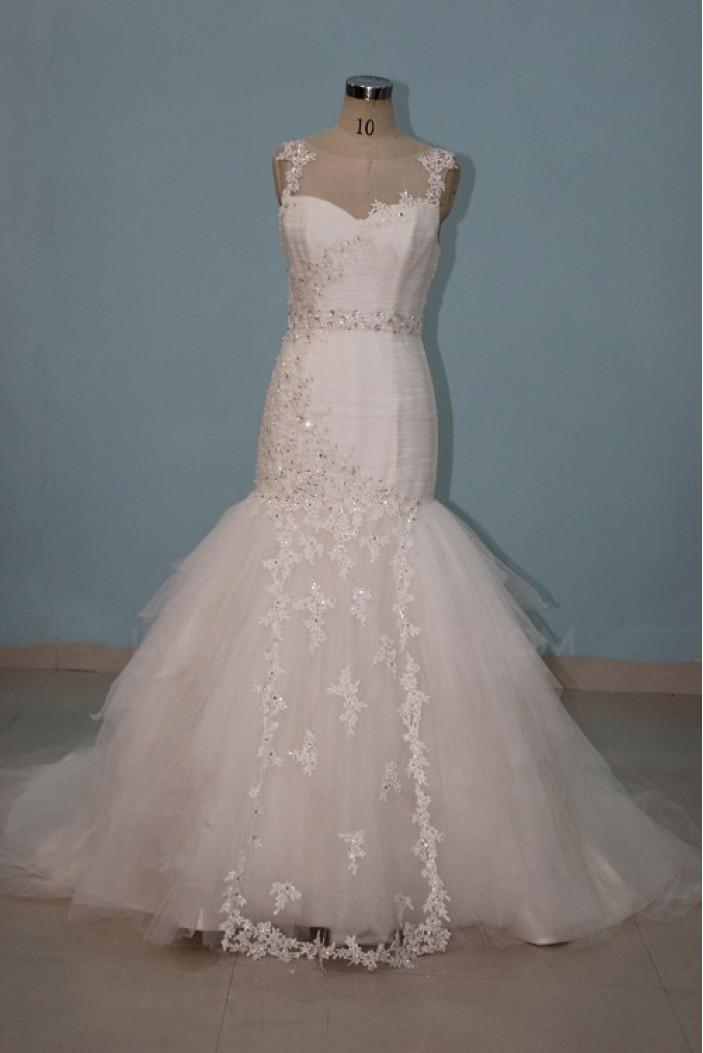 Trumpet/Mermaid Beaded Applique Bridal Wedding Dresses WD010074