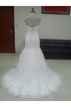 Trumpet/Mermaid Sweetheart Court Train Lace Bridal Wedding Dresses WD010075