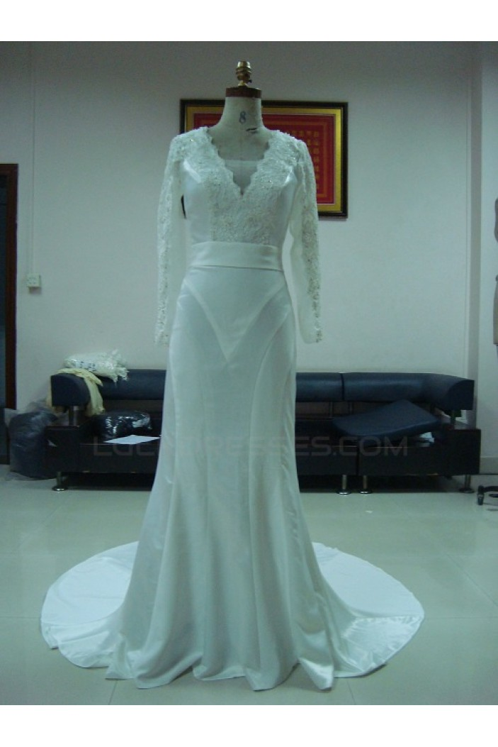 Trumpet/Mermaid Long Sleeves Chapel Train Lace Bridal Wedding Dresses WD010077