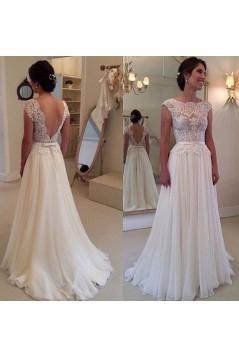 Sheath/Column Lace Chiffon Sweep Train Bridal Wedding Dresses WD010081