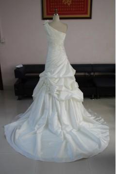 A-line One Shoulder Chapel Train Bridal Wedding Dresses WD010084