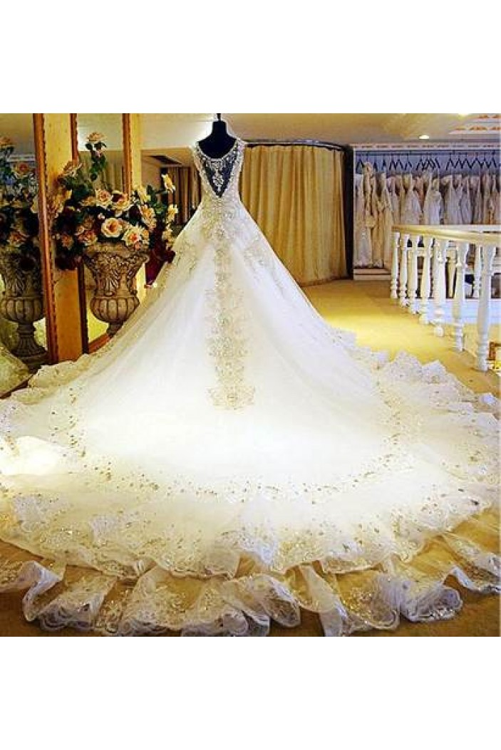 Amazing Beaded Lace Bridal Gowns Wedding Dresses WD010085