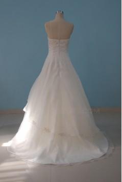 A-line Strapless Beaded Floor Length Bridal Wedding Dresses WD010088