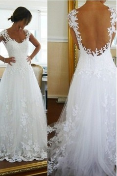 A-line Cap Sleeves Lace Bridal Wedding Dresses WD010091