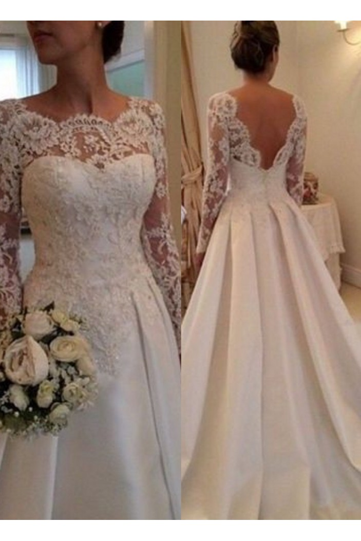 A-Line Long Sleeves Lace Bridal Wedding Dresses WD010092