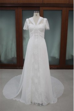Sheath/Column Short Sleeves Chapel Train Lace Bridal Wedding Dresses WD010093