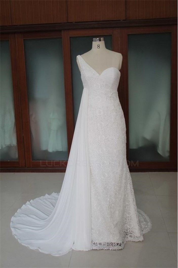 Trumpet/Mermaid One Shoulder Lace Bridal Wedding Dresses WD010094
