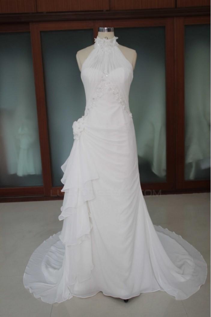 Sheath/Column Court Train Bridal Wedding Dresses WD010096