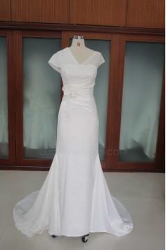 Sheath/Column Court Train Bridal Wedding Dresses WD010097