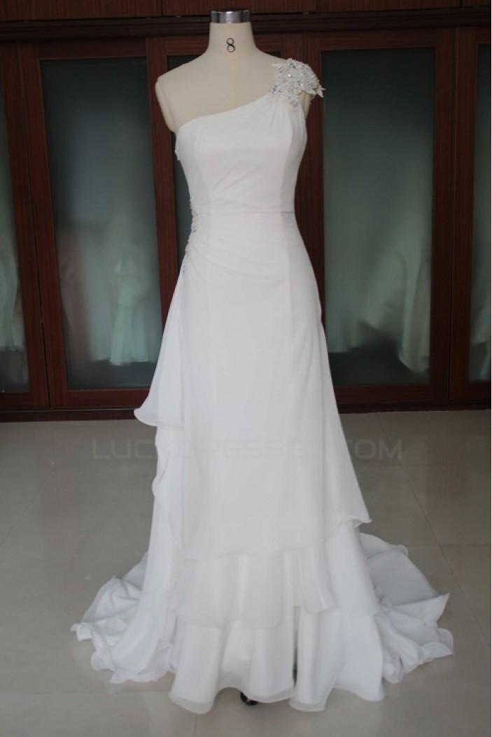 Sheath/Column One Shoulder Bridal Wedding Dresses WD010099