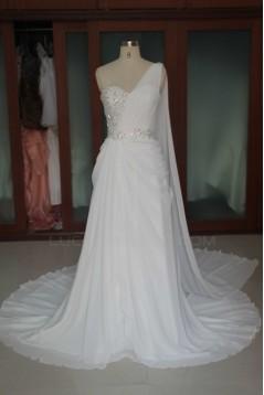 Sheath/Column One Shoulder Beaded Bridal Wedding Dresses WD010101