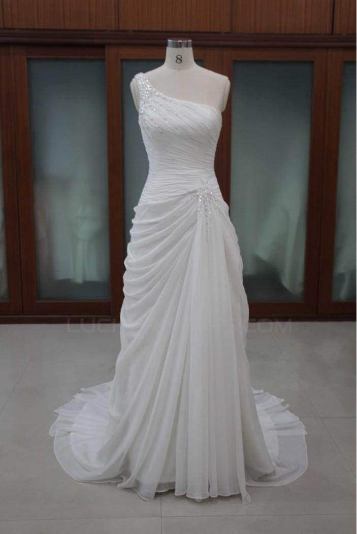 Sheath/Column One Shoulder Bridal Wedding Dresses WD010103