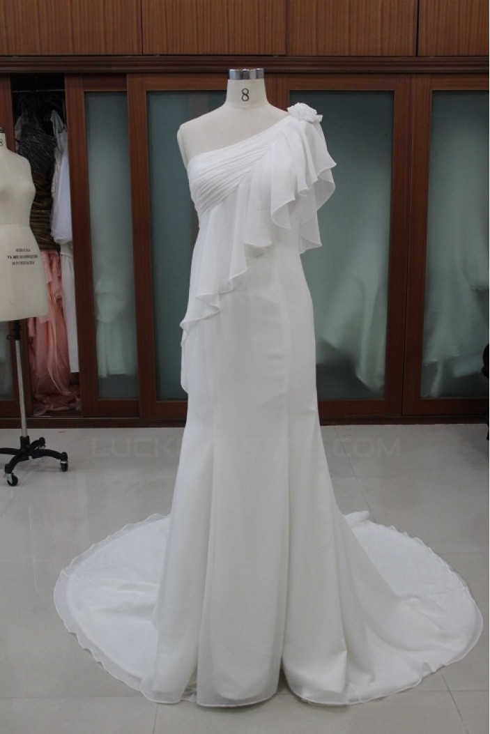 Trumpet/Mermaid One Shoulder Bridal Wedding Dresses WD010104