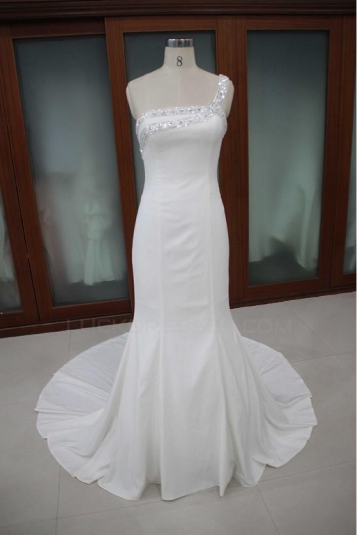 Trumpet/Mermaid One Shoulder Beaded Bridal Wedding Dresses WD010107