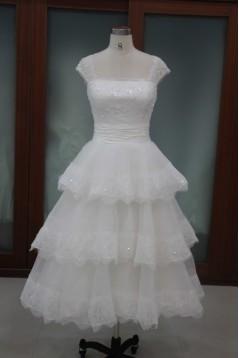 A-line Straps Floor Length Tea Length Lace Bridal Wedding Dresses WD010110