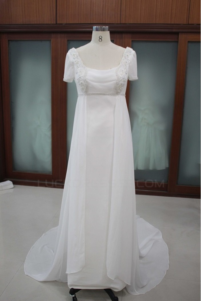 Sheath/Column Short Sleeves Bridal Wedding Dresses WD010116