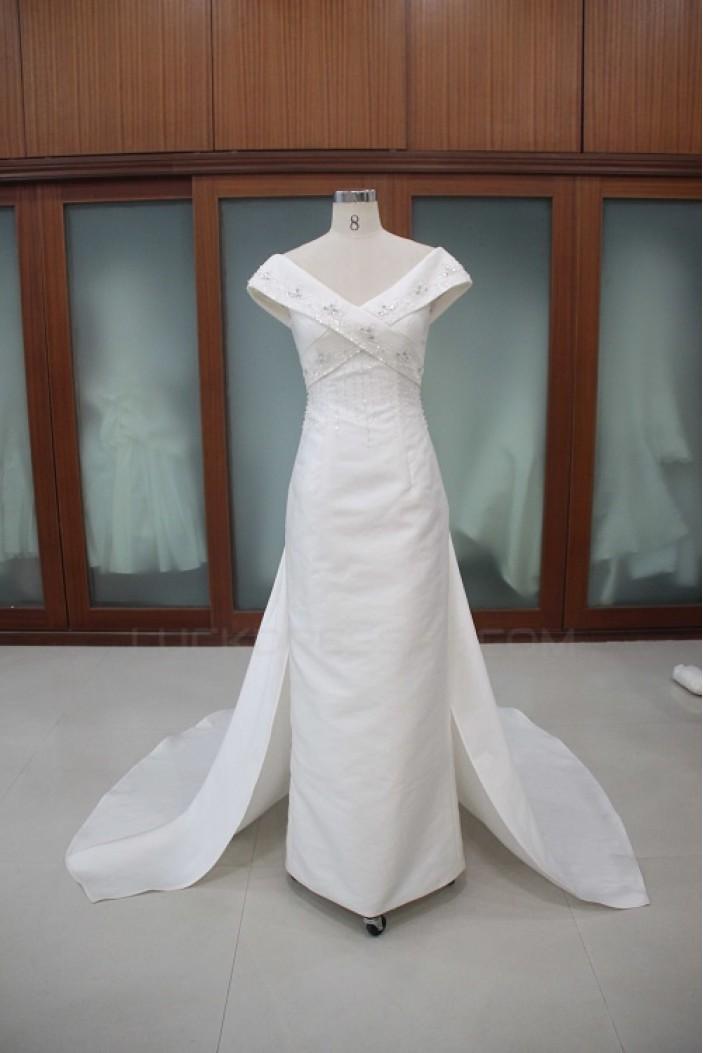 Sheath/Column Off the Shoulder Beaded Bridal Wedding Dresses WD010117