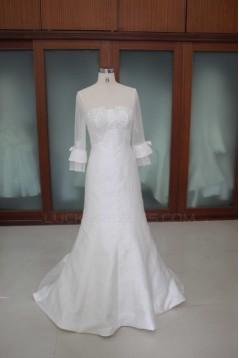 Trumpet/Mermaid 3/4 Sleeves Beaded Bridal Wedding Dresses WD010118