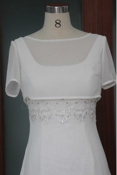 A-line Short Sleeves Bridal Wedding Dresses WD010119