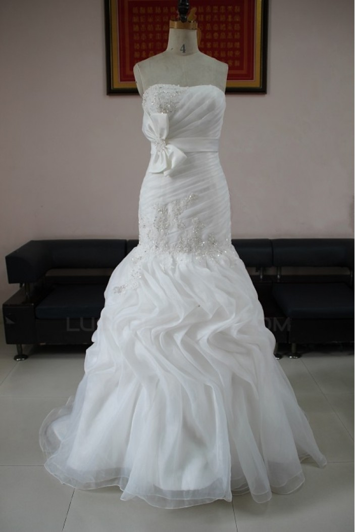 Trumpet/Mermaid Strapless Beaded Bridal Wedding Dresses WD010120