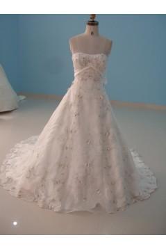 A-line Strapless Chapel Train Bridal Wedding Dresses WD010122