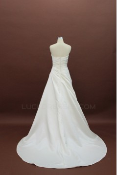 A-line Strapless Court Train Bridal Wedding Dresses WD010129