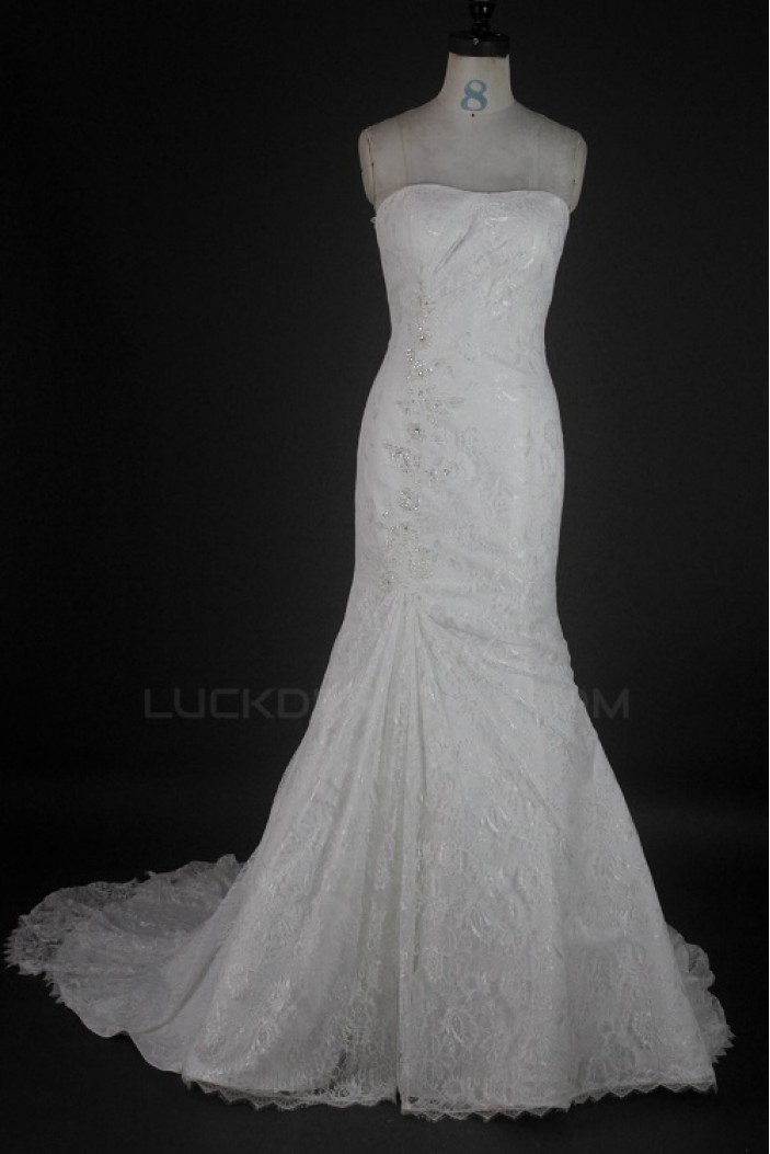 Trumpet/Mermaid Strapless Court Train Lace Bridal Wedding Dresses WD010131